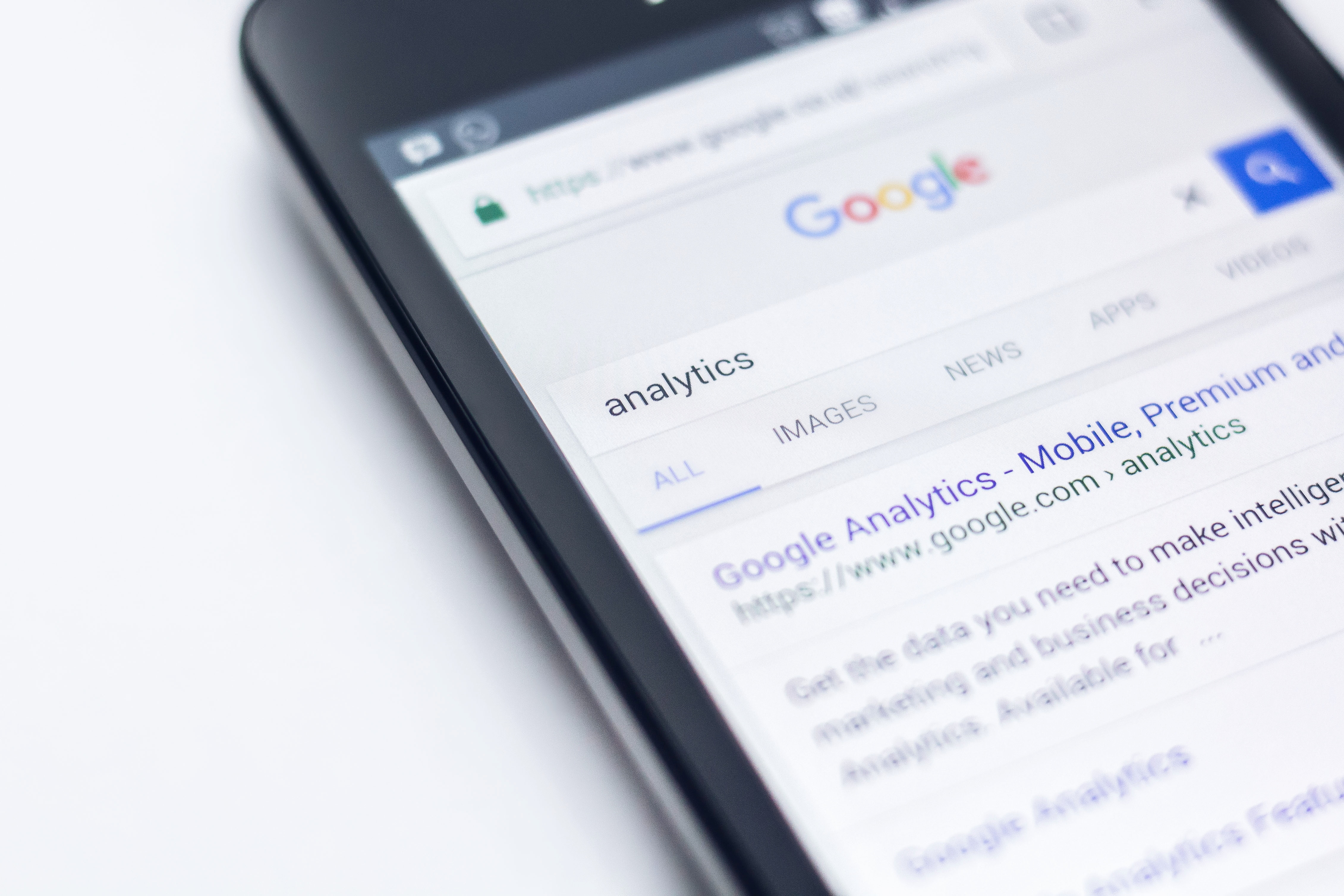 google analytics on smartphone screen