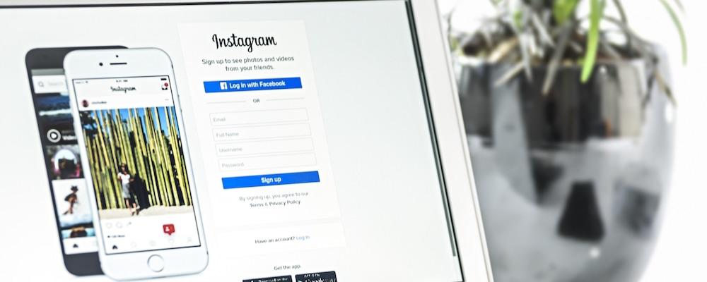Instagram login on computer screen